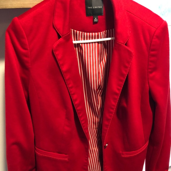 The Limited Jackets & Blazers - The Limited Red and White Medium Tailored Jacket